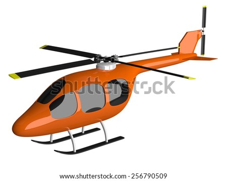 Toy orange helicopter with black tinted windows isolated on white - stock photo