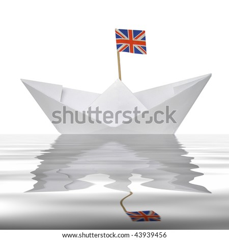 Toy paper boat with union jack UK flag