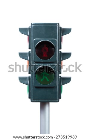 toy pedestrian traffic light isolated on white background