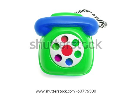 Toy Phone on Isolated White Background - stock photo