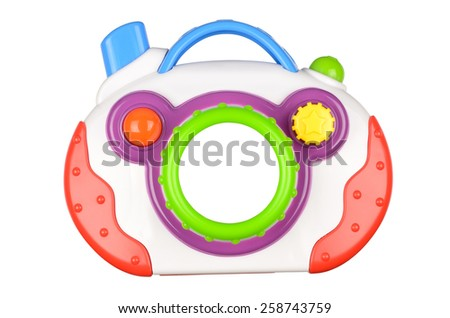 Toy photo camera isolated on white background. With clipping path - stock photo