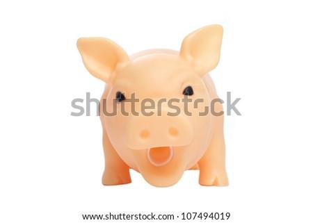 Toy Pig isolated on white background - stock photo