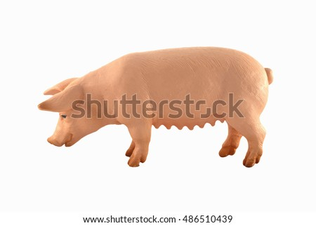 Toy pig  isolated on white. Farm animal - cute, pink, funny  toy pig isolated on white/Toy pig  isolated on white.