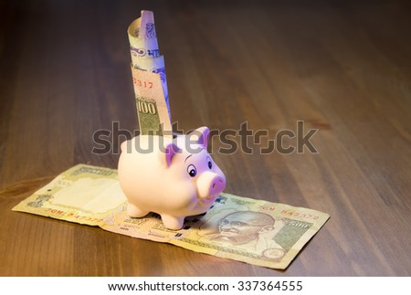Toy piggy bank with Indian banknotes - stock photo