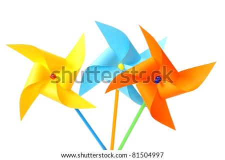 toy pinwheel on white background - stock photo