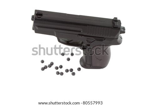 toy pistol that use air pressure system to shoot - stock photo