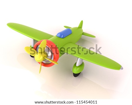 Toy plane on a white background, light shadow and reflection - stock photo