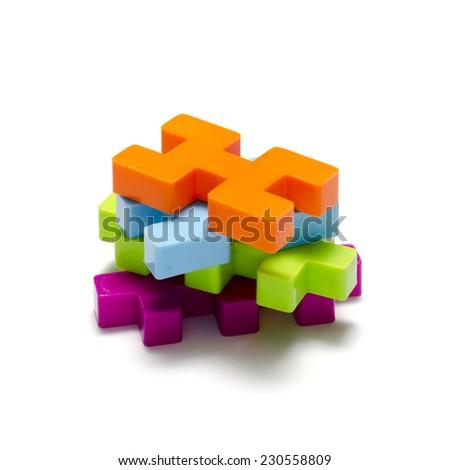 toy plastic blocks on a white background - stock photo