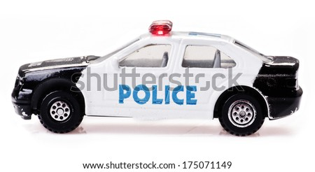 Police Officer Car Toy Toy Police Car on a White