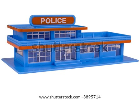toy Police Station in the color of blue isolated over a white background - stock photo