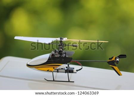 Toy radio helicopter - stock photo