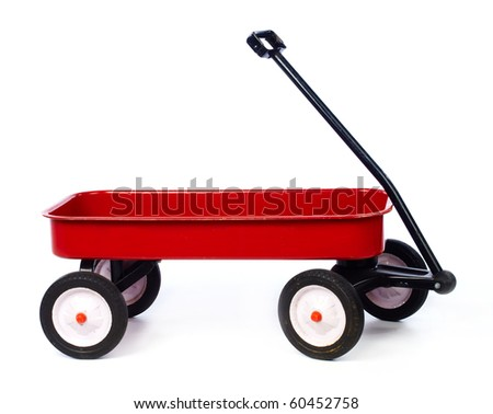 Toy red wagon on white full size - stock photo