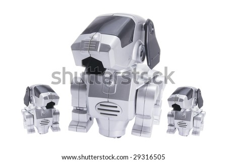 Toy Robot Dogs on Isolated White Background - stock photo