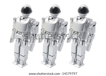 Toy Robots on White Background