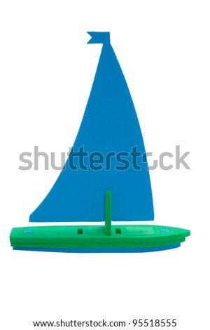 toy sailboat, Isolated on white background, clipping path. - stock photo