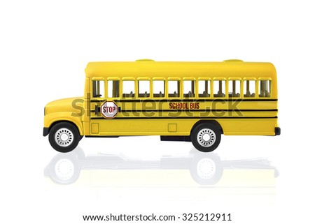 Toy School Bus isolated on a white background with clipping path - stock photo
