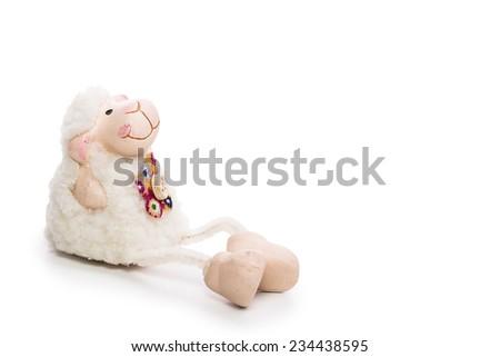toy sheep Isolated on white background - stock photo