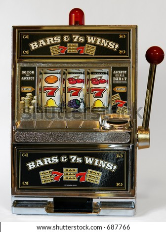 toy slot machine winning 777 - stock photo