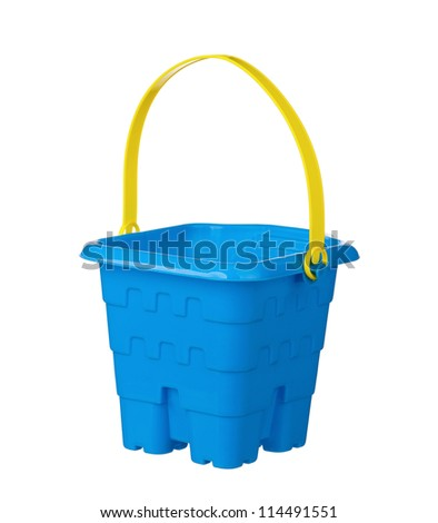 Toy small bucket isolated on white background - stock photo