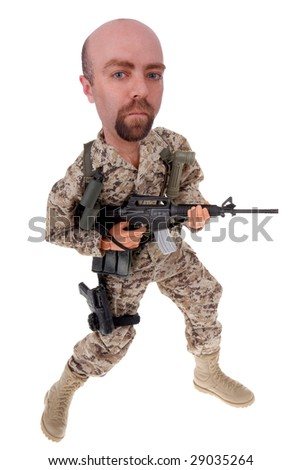 Toy soldier doll in desert uniform with a rifle isolated over white
