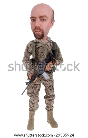 Toy soldier doll in desert uniform with a rifle isolated over white - stock photo