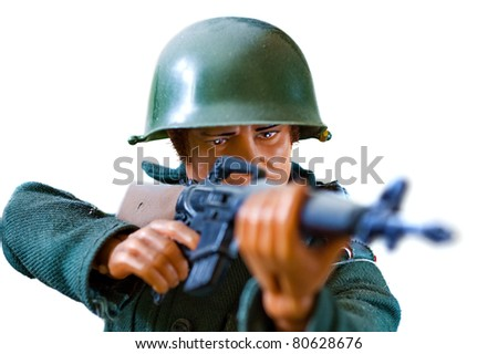 toy soldier on white background - stock photo