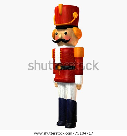 Toy Soldier wooden Nutcracker in red uniform, hat three quarter side view against clean white background