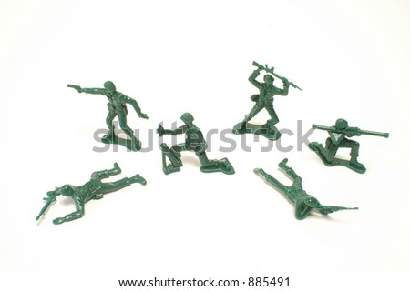 Toy soldiers on a white background