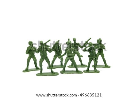 Toy soldiers on  white background, close-up