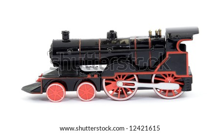 toy steam train engine studio isolated