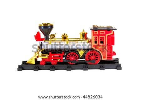 Toy Steam Train on white background - stock photo