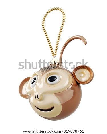 Toy symbol of the year isolated on white background. Christmas Toy monkey. 3d render image. - stock photo