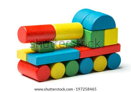 toy tank, multicolor wooden blocks, military transport over white background - stock photo