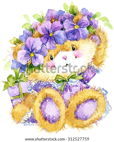 Toy Teddy bear and flower violet. Toy background for celebration kids Birthday festival. watercolor illustration - stock photo