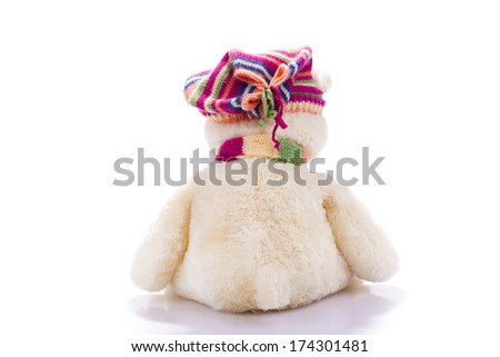 Toy teddy bear from back  isolated on white