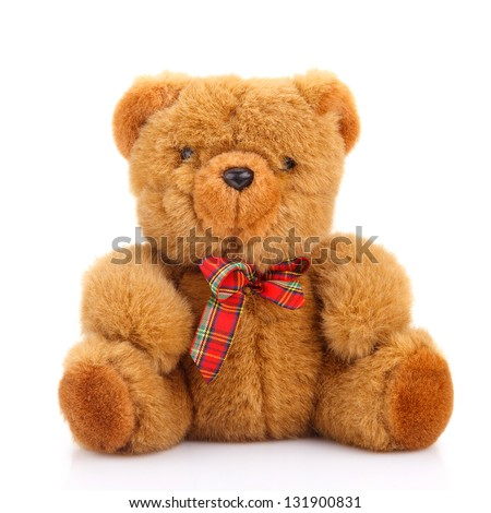toy teddy bear isolated on white - stock photo