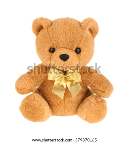 Toy teddy bear isolated on white, without shadow.