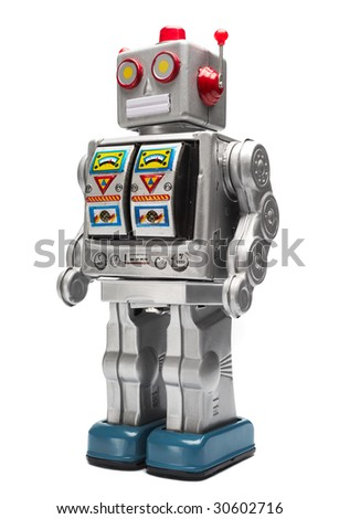 Toy tin robot isolated on white - stock photo