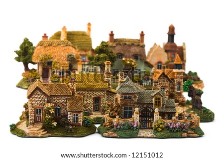 Toy town, isolated on white background - stock photo