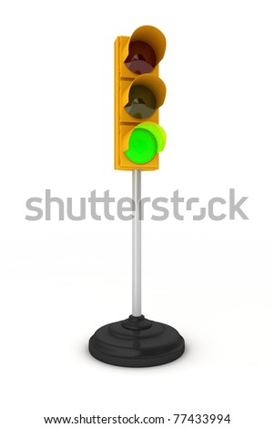 Toy traffic light over white background showing green light - stock photo