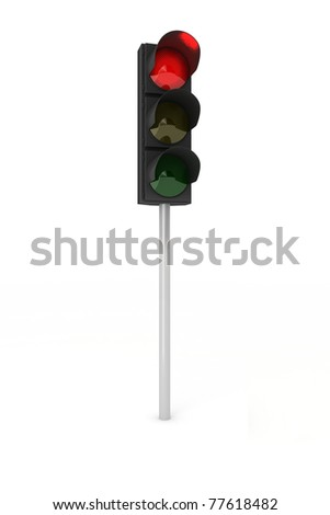 Toy traffic light over white background showing red