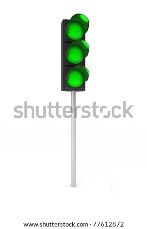 Toy traffic light over white background showing three green lights - stock photo