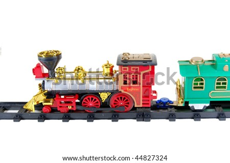 Toy Train and  caboose on white background - stock photo