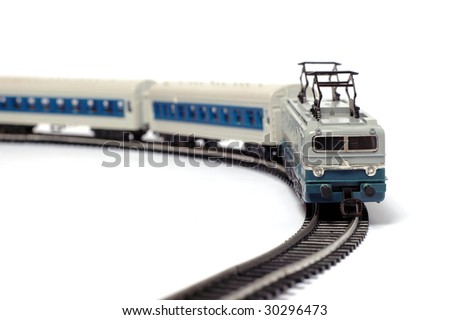 Toy train and railroad - stock photo