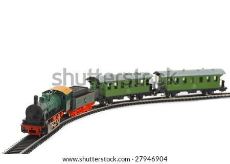 Toy train isolated on white background - stock photo