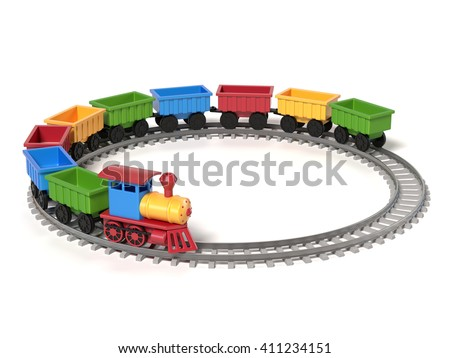 toy train on a white background 3d rendering - stock photo