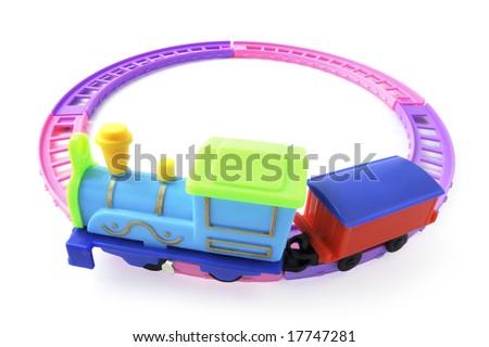 Toy Train on Railway Track on White Background - stock photo