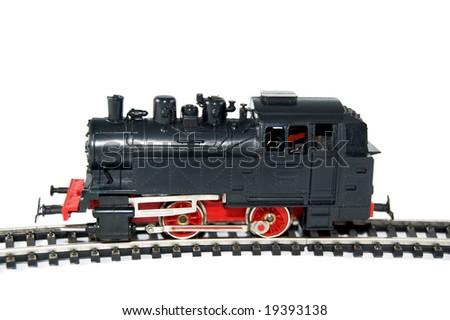 Toy Train on white background - stock photo