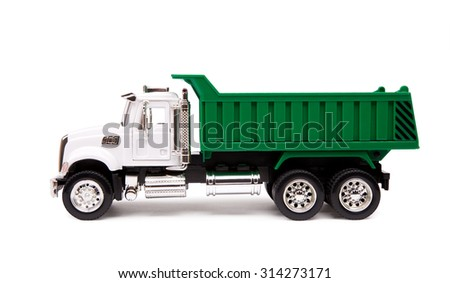 toy truck, dump truck on white background - stock photo