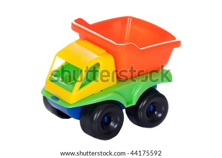 Toy truck with many colors isolated on white background - stock photo